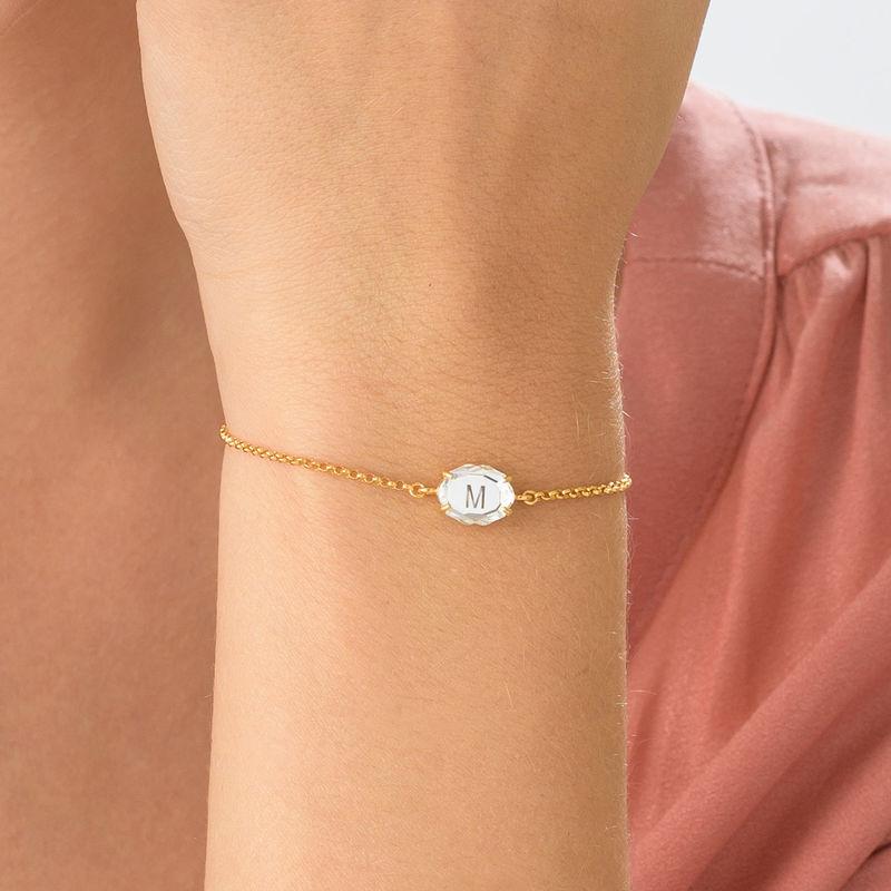 Stone Engraved Bracelet in Gold Plating - 4