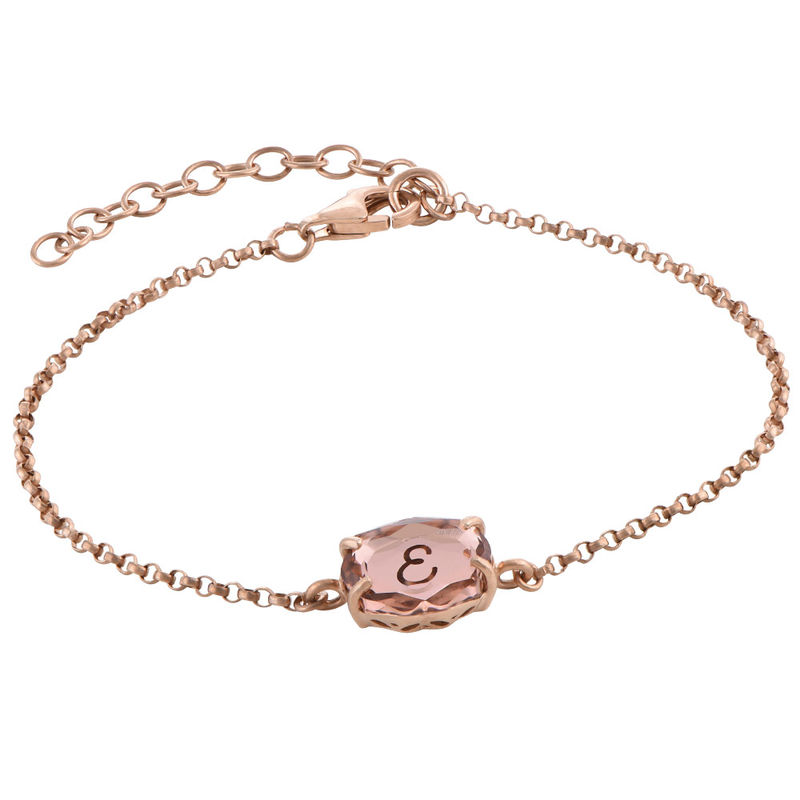 Stone Engraved Bracelet in Rose Gold Plating - 2
