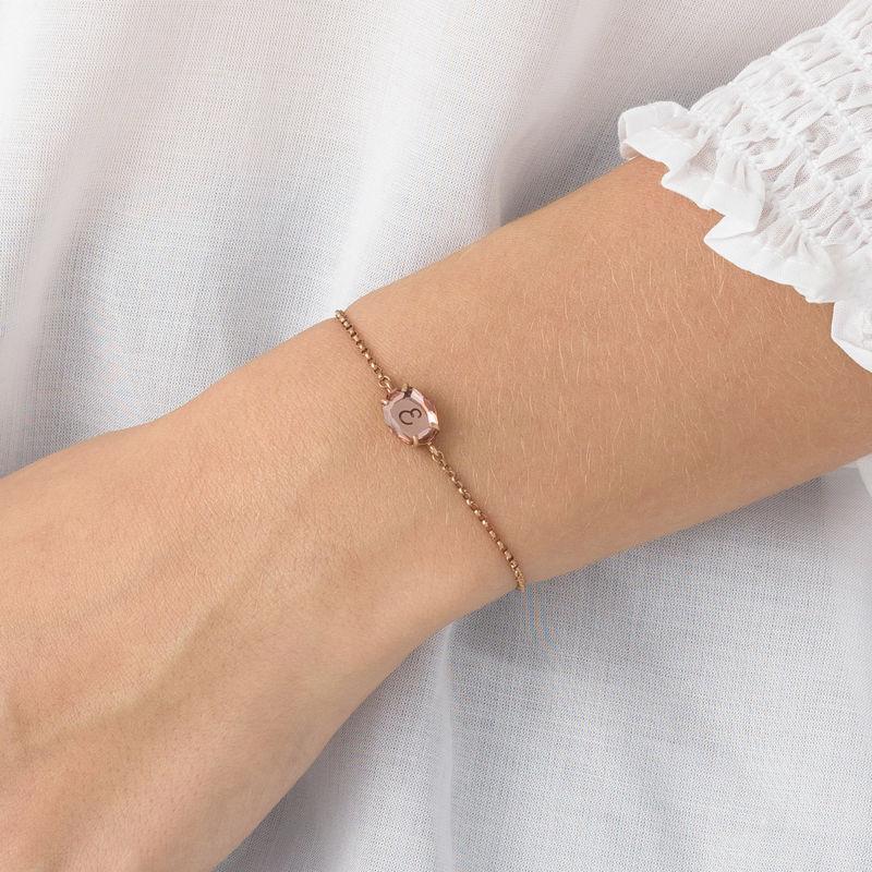Stone Engraved Bracelet in Rose Gold Plating - 4