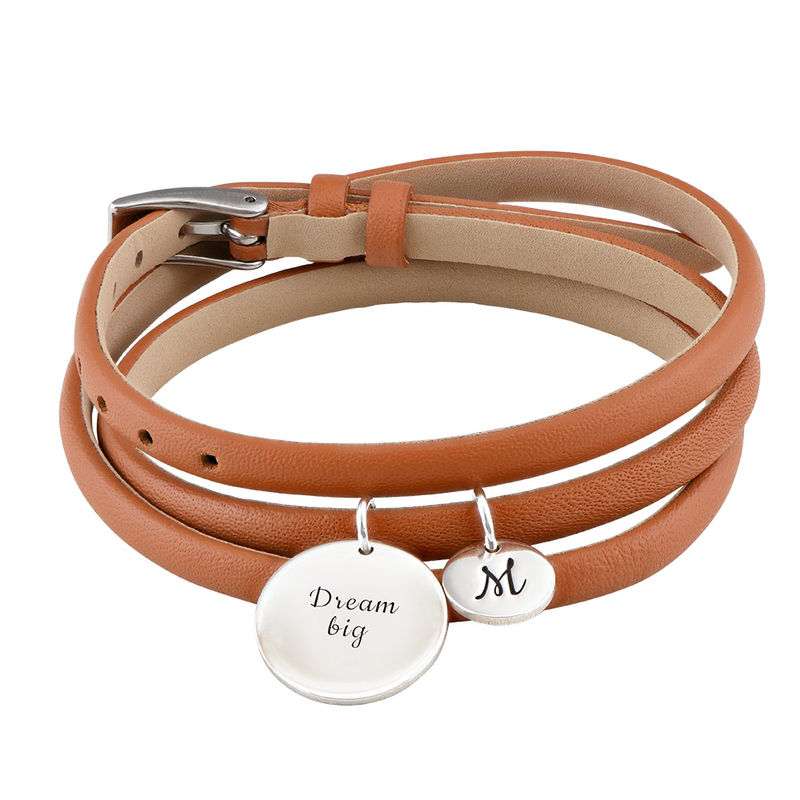 Wrapped Leather Custom Charms Bracelet in Silver