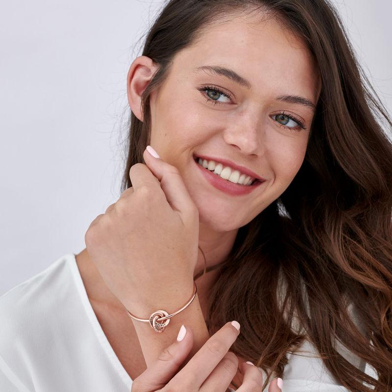 Russian Ring Bangle Bracelet in Rose Gold Plating - 2
