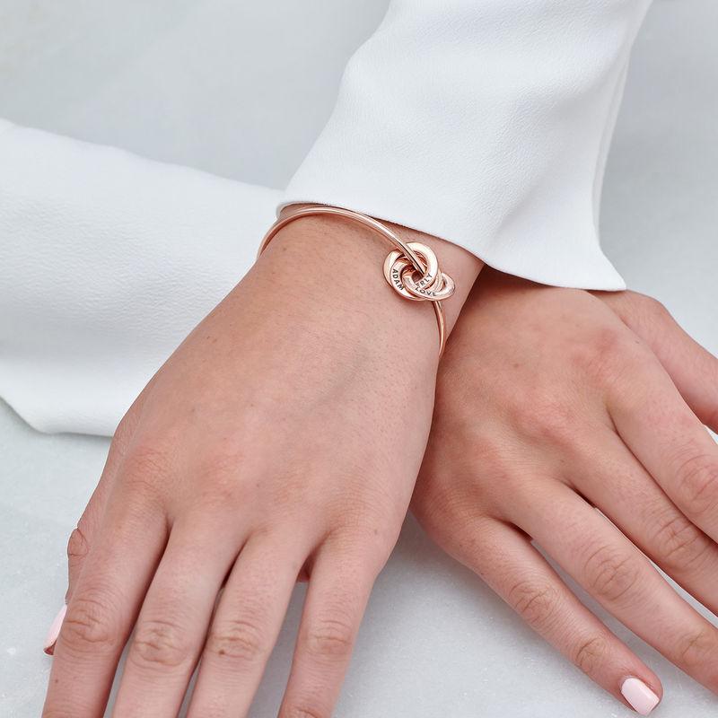 Russian Ring Bangle Bracelet in Rose Gold Plating - 3