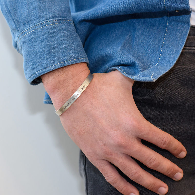 Engraved Men Cuff Bracelet in Silver - 2
