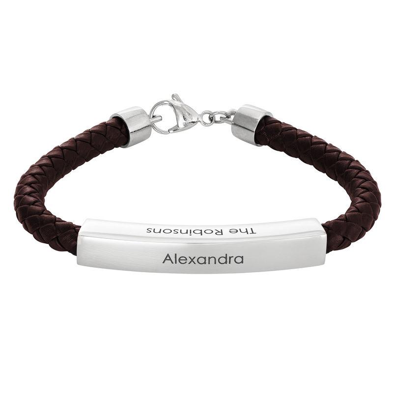 Engraved Leather Bar Bracelet for Men- in Brown