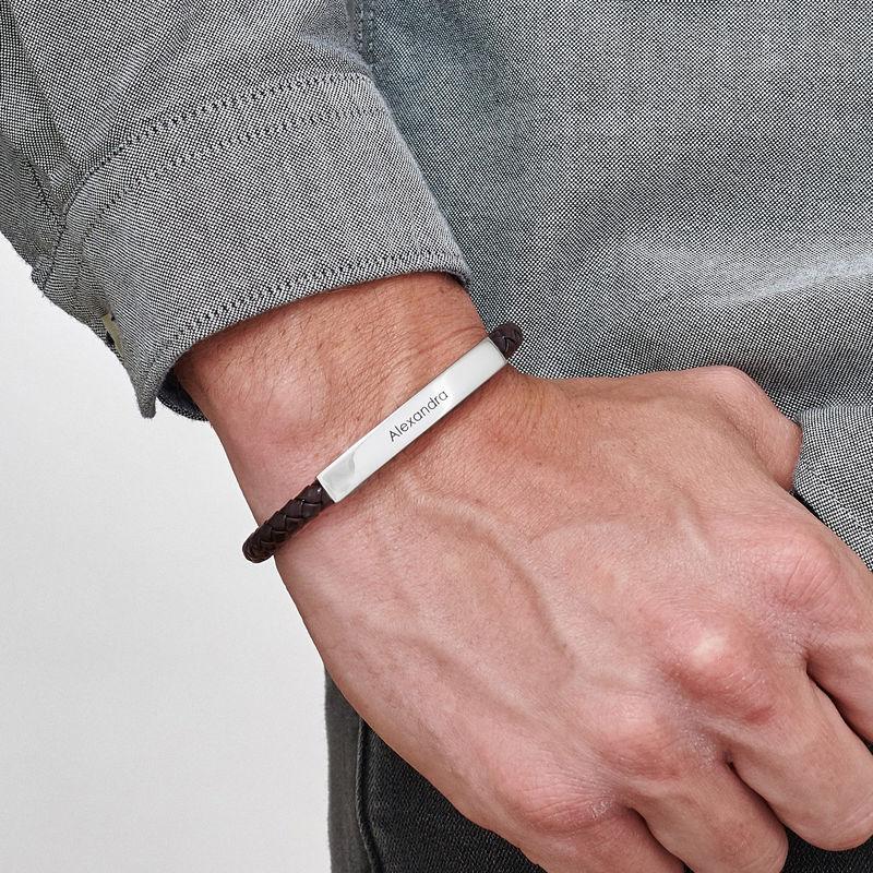 Engraved Leather Bar Bracelet for Men- in Brown - 2
