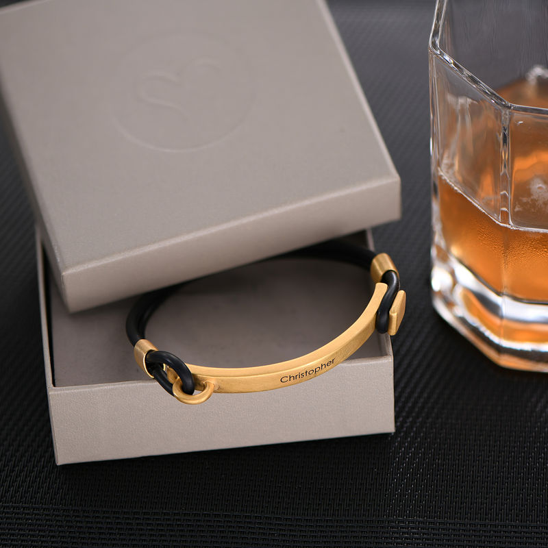 Personalized Rubber Bracelet with Engravable Bar in Gold Plated - 2