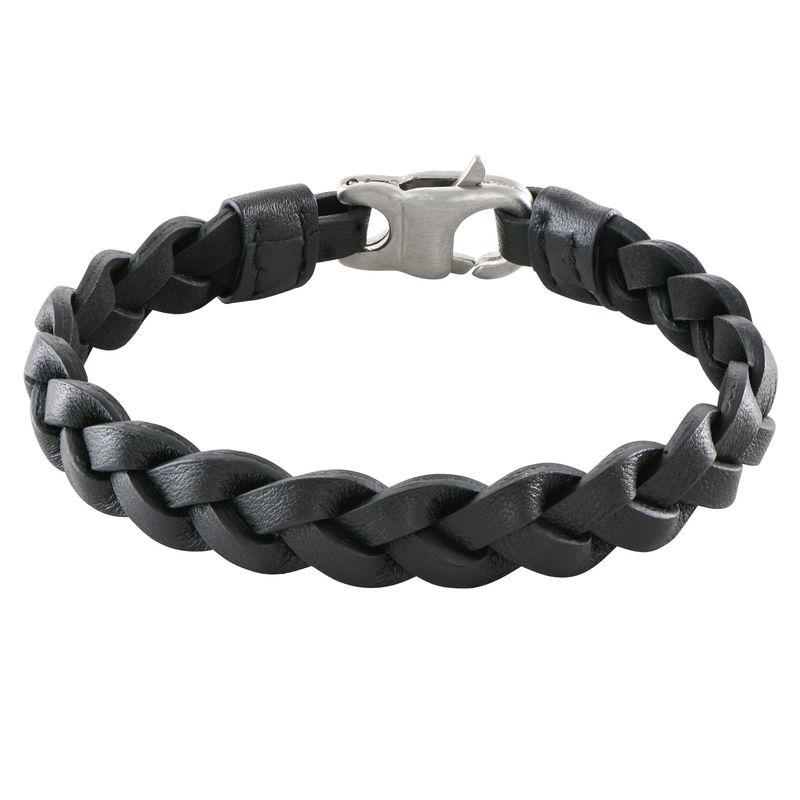 Mariner Nautical Black Rope Leather Bracelet for Men