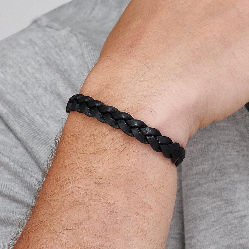 Mariner Nautical Black Rope Leather Bracelet for Men - 2