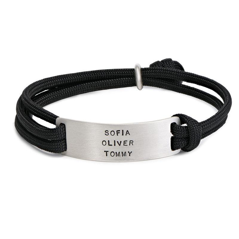 Engraved Bar Cord Bracelet For Men