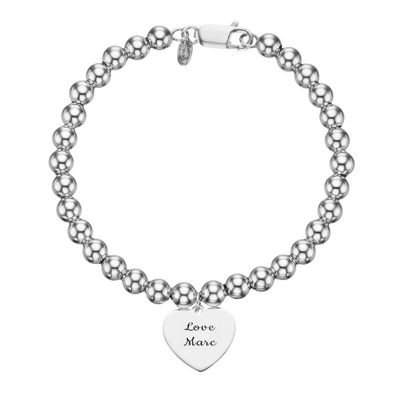 Engraved Heart Charm Beaded Bracelet in Sterling Silver