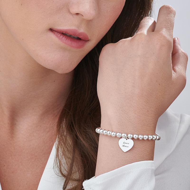 Engraved Heart Charm Beaded Bracelet in Sterling Silver - 2