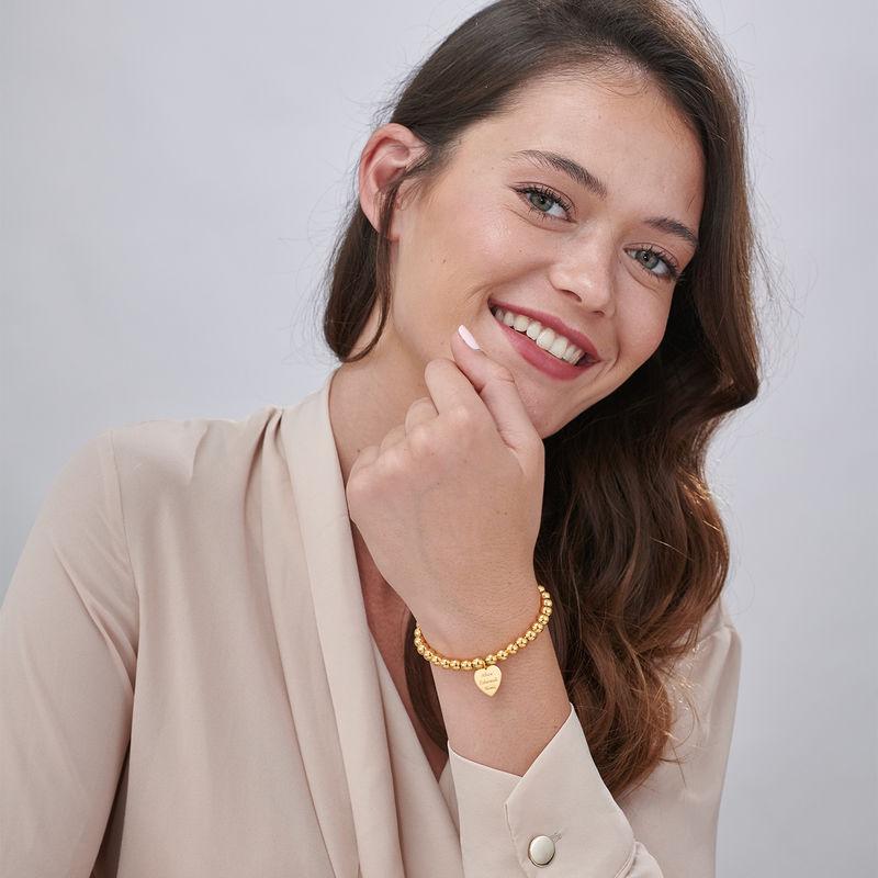 Engraved Heart Charm Beaded Bracelet in Gold Plating - 1