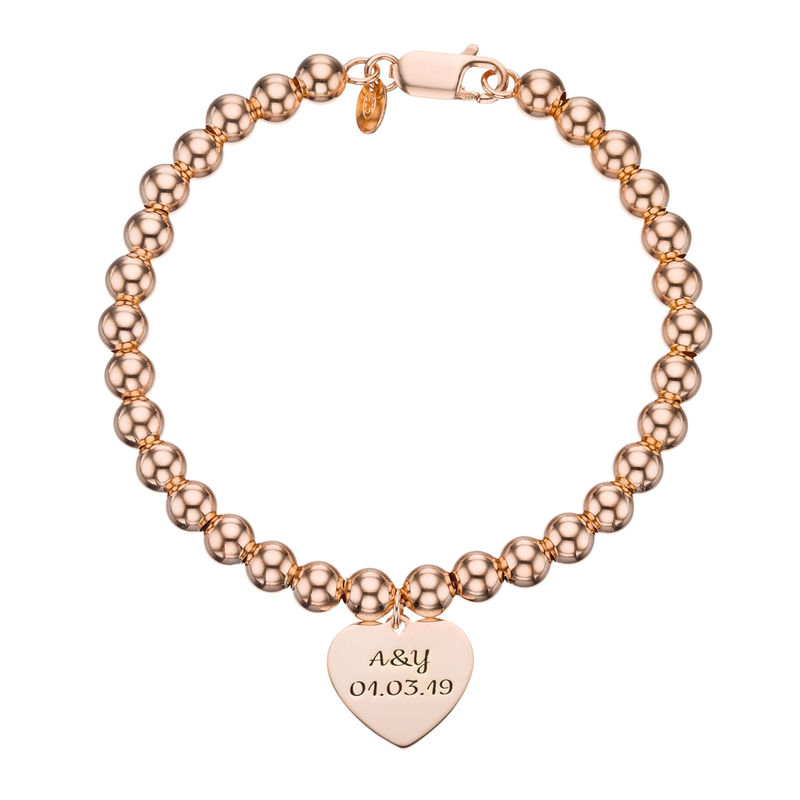 Heart Charm Beaded Bracelet in Rose gold Plating