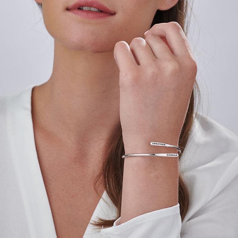 Engraved Adjustable Silver Cuff Bracelet - 3