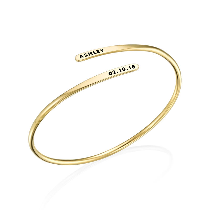 Engraved Adjustable 18k Gold Vermeil Cuff Bracelet - 1
