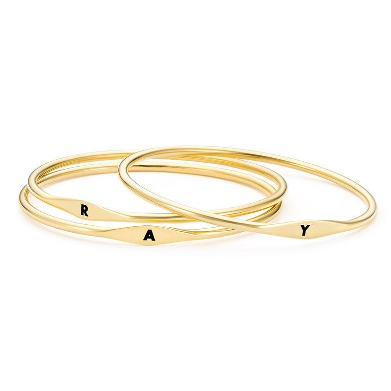Initial Bangle Bracelet in Gold Plating - 2