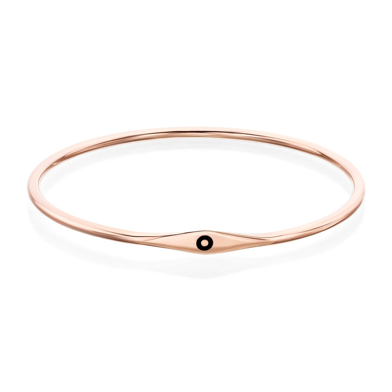 Initial Bangle Bracelet in Rose Gold Plating