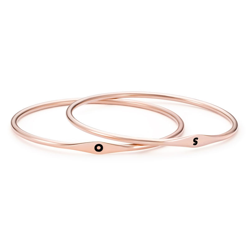 Initial Bangle Bracelet in Rose Gold Plating - 2