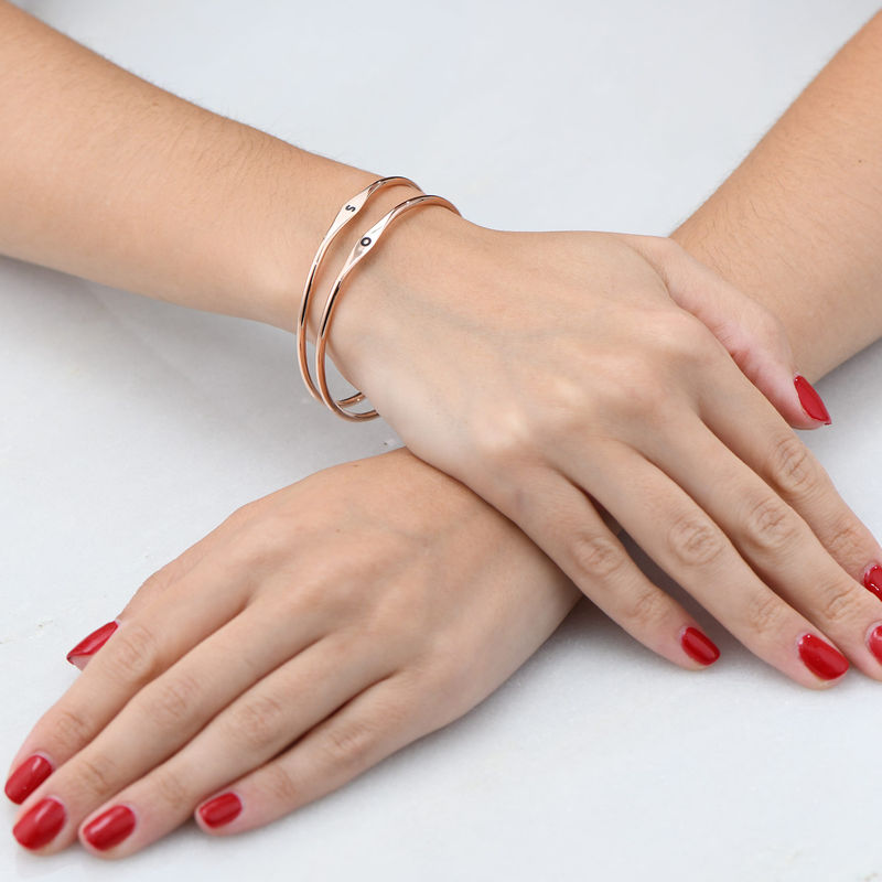 Initial Bangle Bracelet in Rose Gold Plating - 3