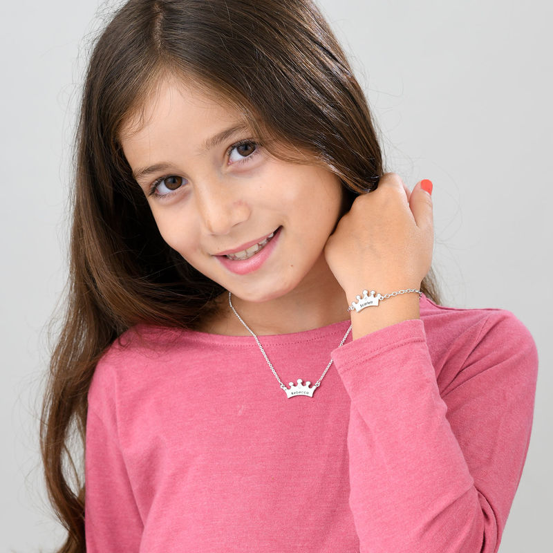 Princess Crown Bracelet for Girls with Cubic Zirconia in Sterling Silver - 3