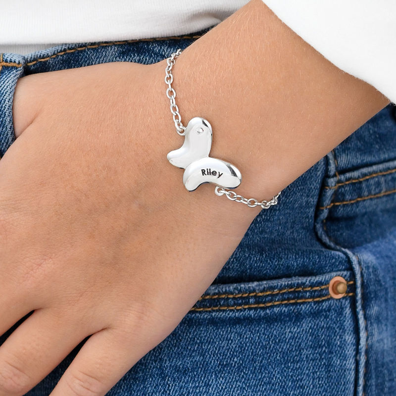 Butterfly Bracelet for Girls with Cubic Zirconia in Sterling Silver - 2