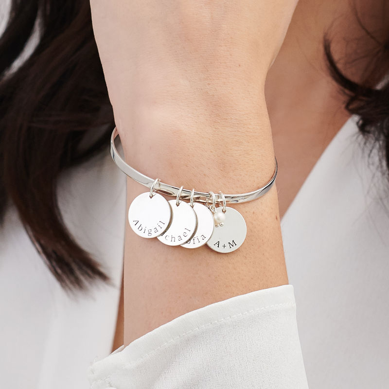 Bangle Bracelet with Personalized Pendants in Sterling Silver - 2