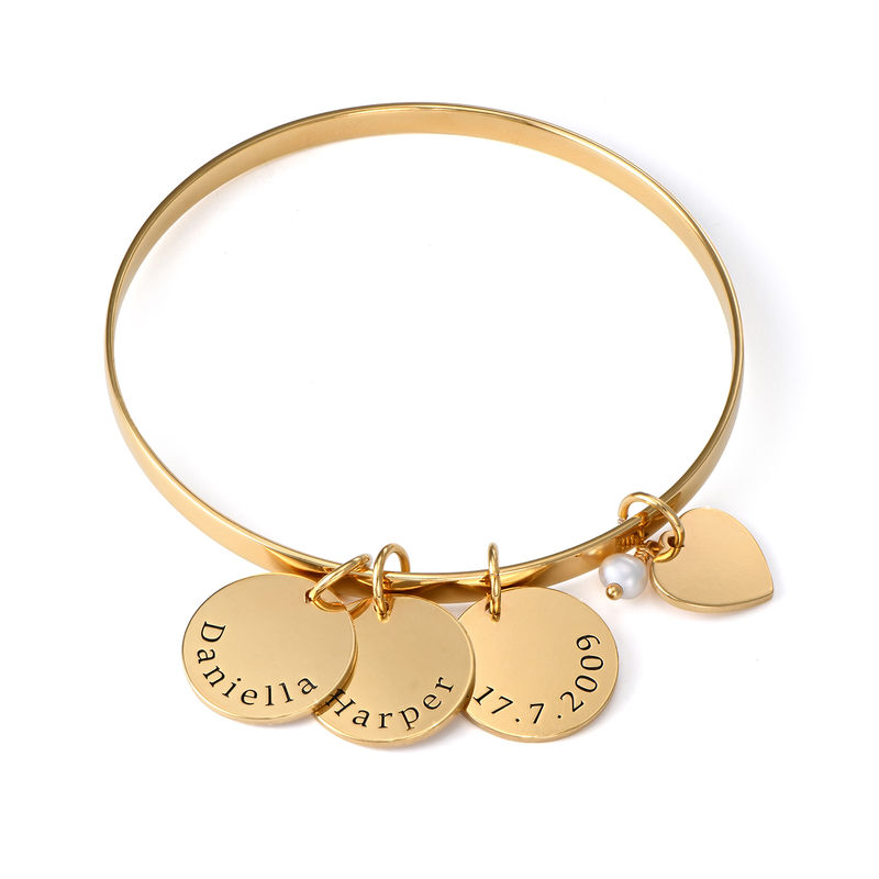 Bangle Bracelet with Personalized Pendants in Gold Plating