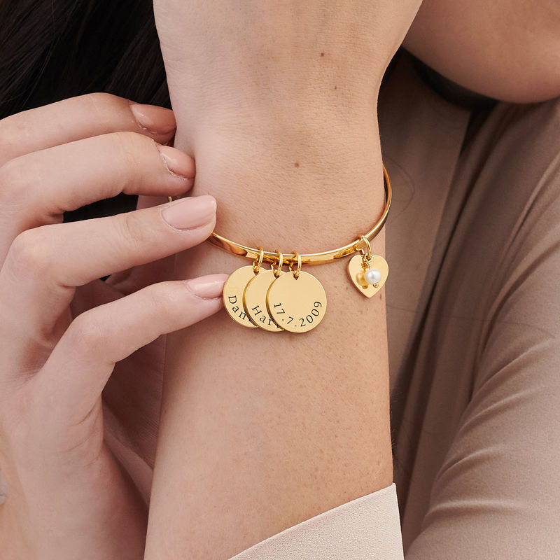 Bangle Bracelet with Personalized Pendants in Gold Plating - 2