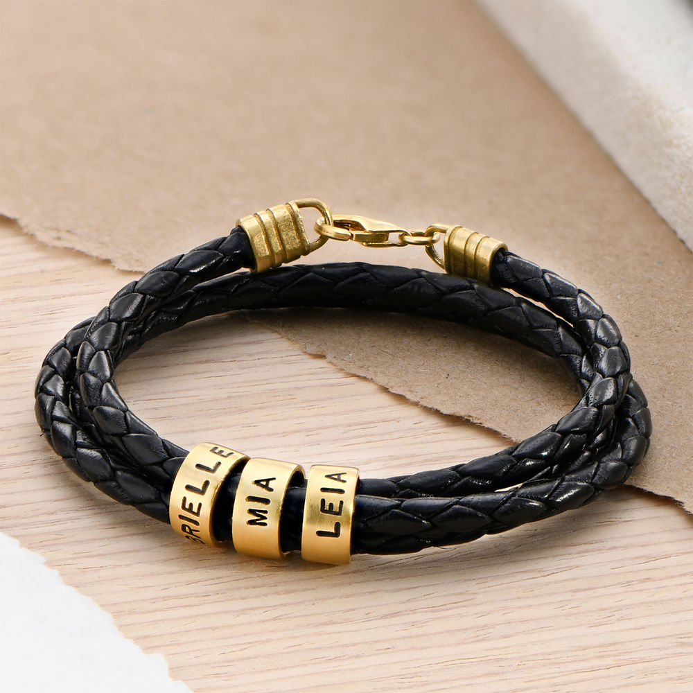 Men Braided Leather Bracelet with Small Custom Beads in 18k Gold Vermeil - 1