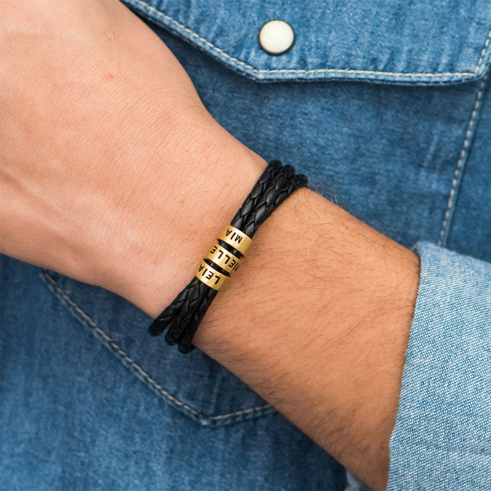 Men Braided Leather Bracelet with Small Custom Beads in 18k Gold Vermeil - 4