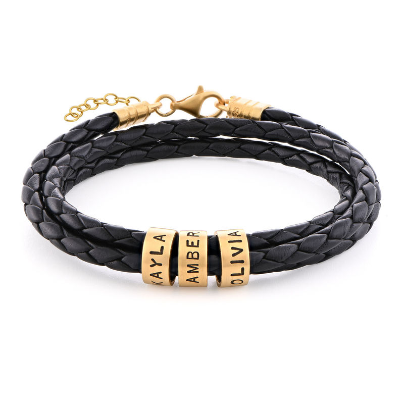 Women Braided Leather Bracelet with Small Custom Beads in 18k Gold Plating