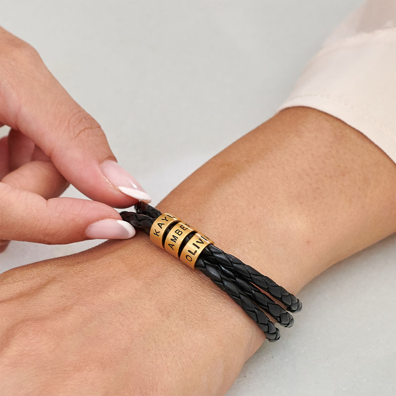 Women Braided Leather Bracelet with Small Custom Beads in 18k Gold Plating - 3