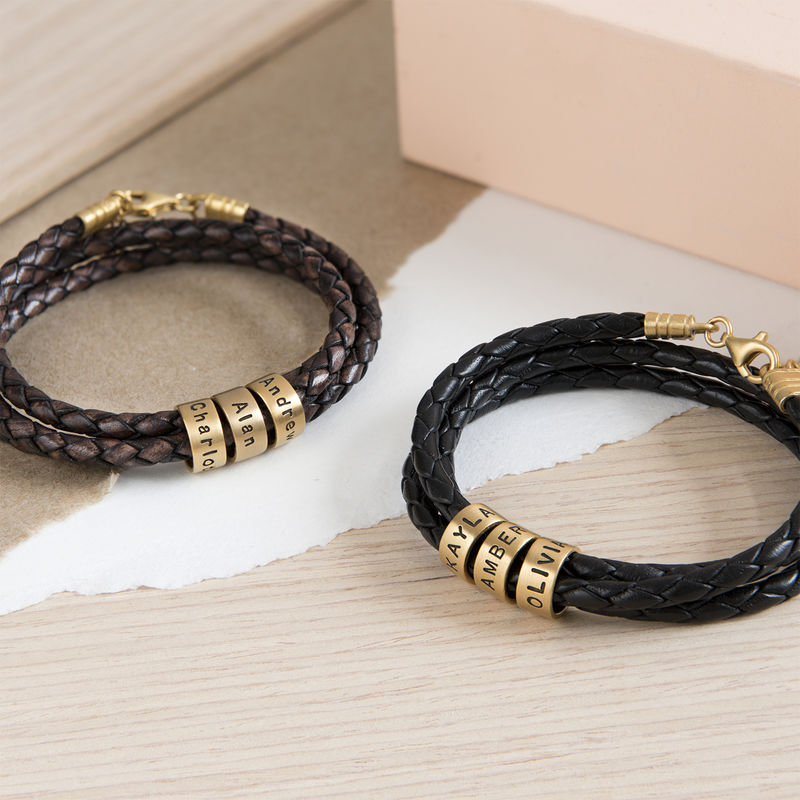 Women Braided Leather Bracelet with Small Custom Beads in 18k Gold Vermeil - 5