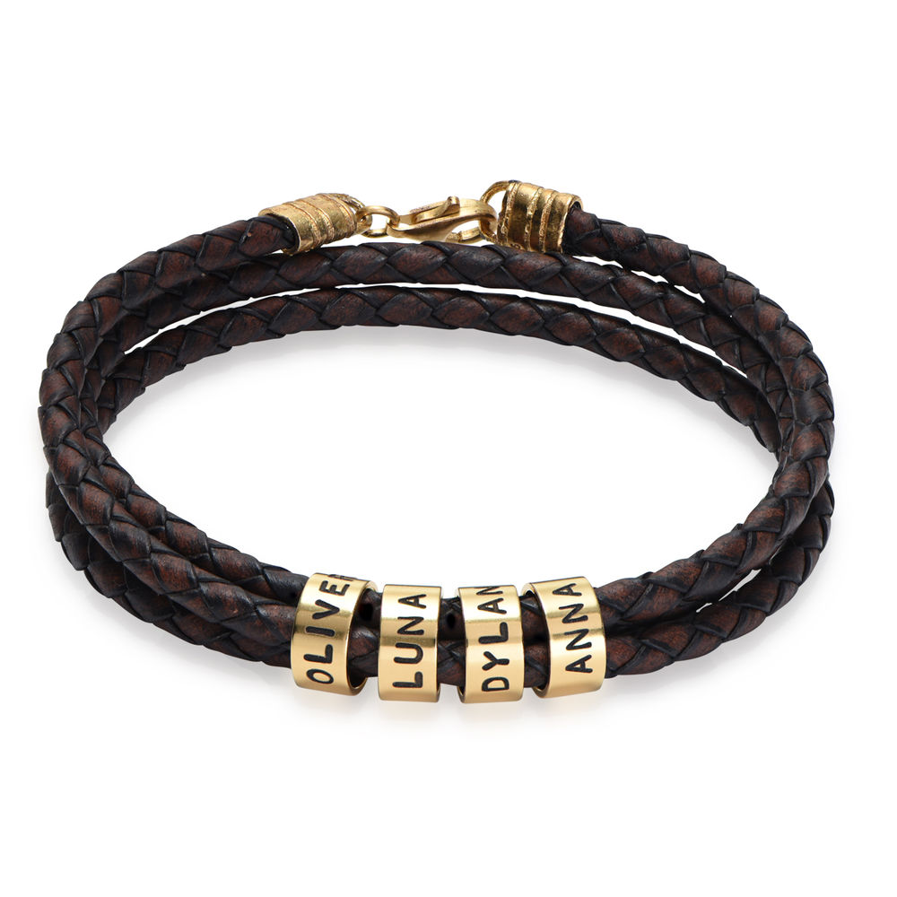 Men Braided Brown Leather Bracelet with Small Custom Beads in 18k Gold Plating