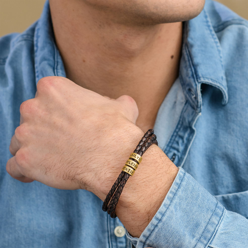 Men Braided Brown Leather Bracelet with Small Custom Beads in 18k Gold Plating - 1