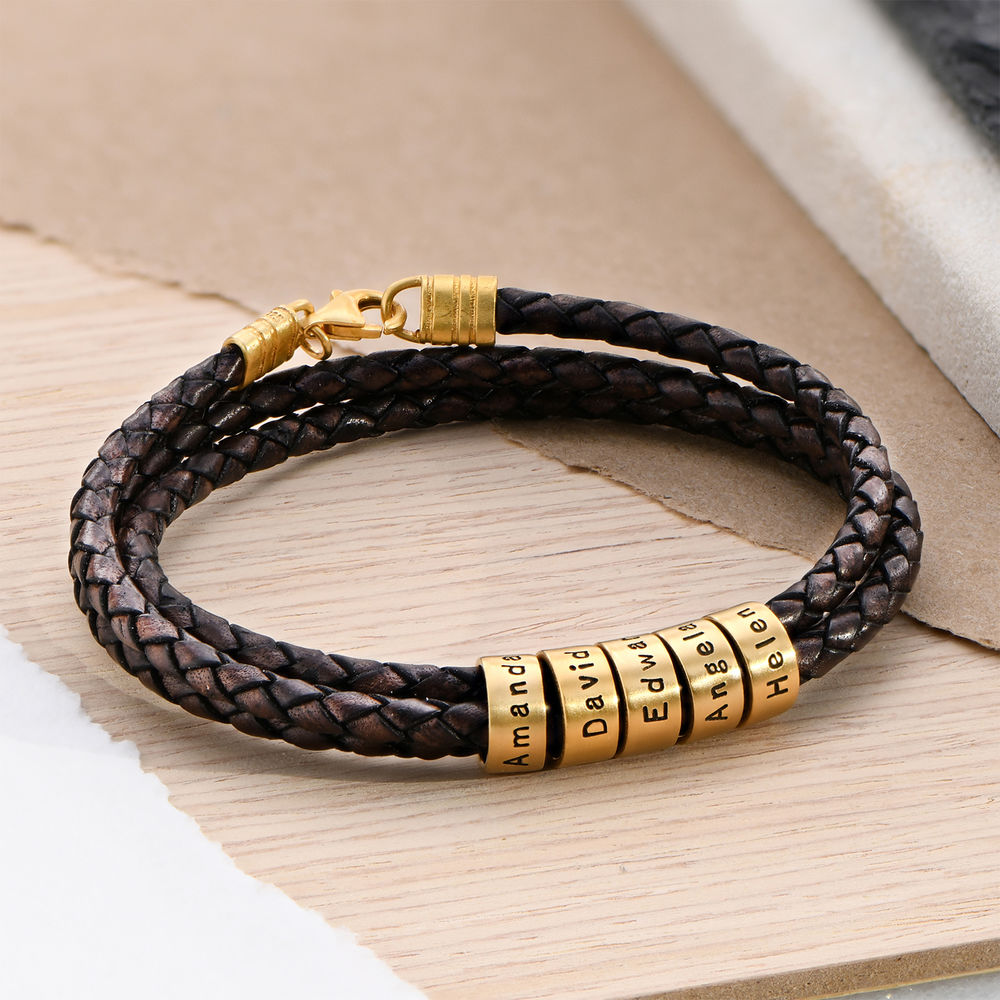 Men Braided Brown Leather Bracelet with Small Custom Beads in 18k Gold Plating - 2