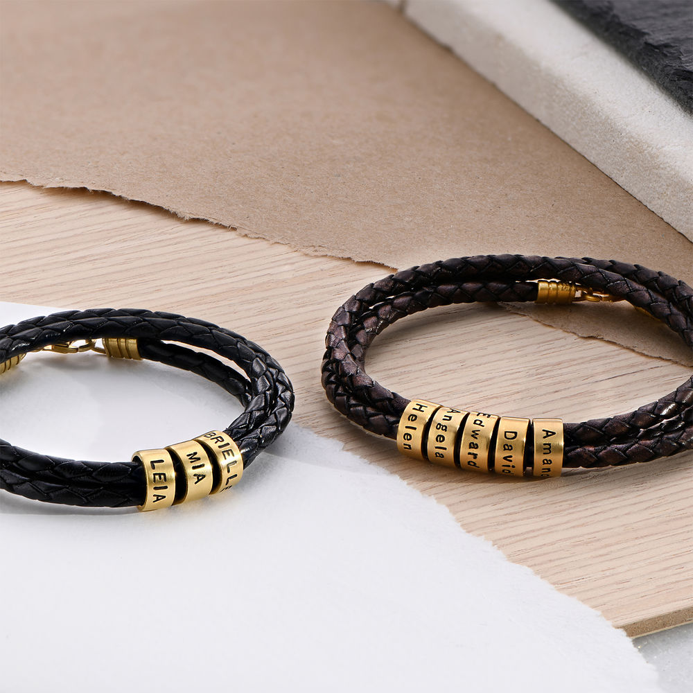 Men Braided Brown Leather Bracelet with Small Custom Beads in 18k Gold Vermeil - 3