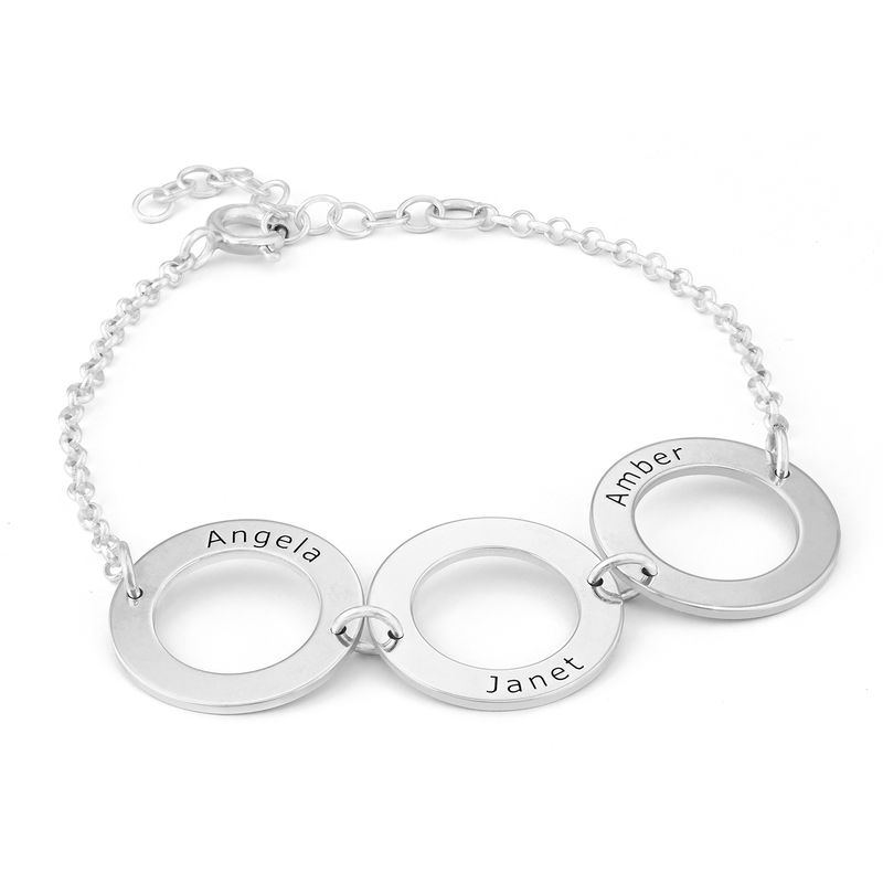 Personalized 3 Circles Bracelet with Engraving in Sterling Silver