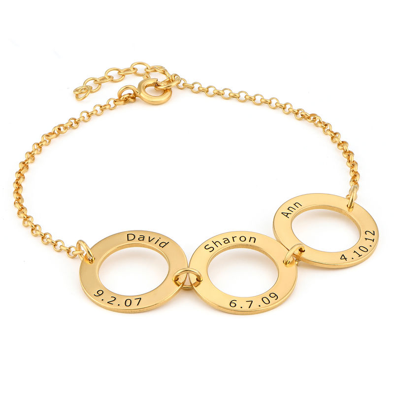 Personalized 3 Circles Bracelet with Engraving in Gold Plating