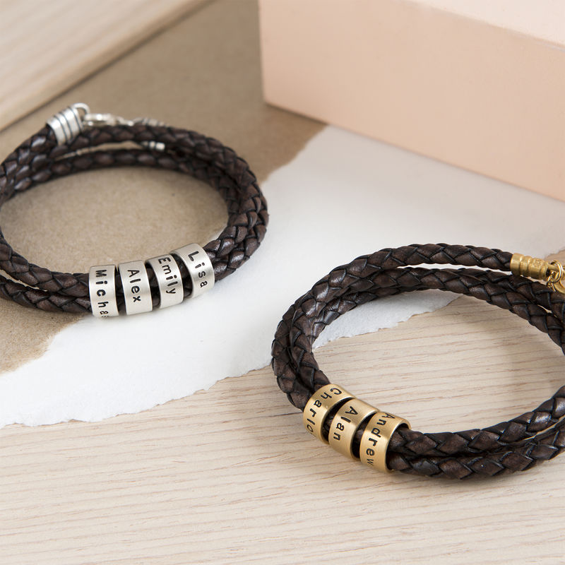 Women Braided Brown Leather Bracelet with Small Custom Beads in Silver - 5