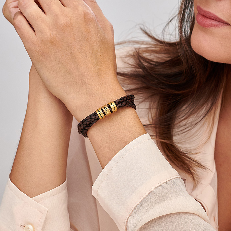 Women Braided Brown Leather Bracelet with Small Custom Beads in 18k Gold Plating - 2