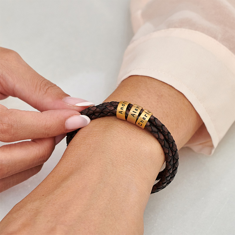 Women Braided Brown Leather Bracelet with Small Custom Beads in 18k Gold Plating - 3