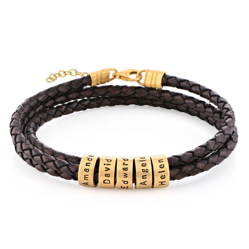 Women Braided Brown Leather Bracelet with Small Custom Beads in 18k Gold Vermeil