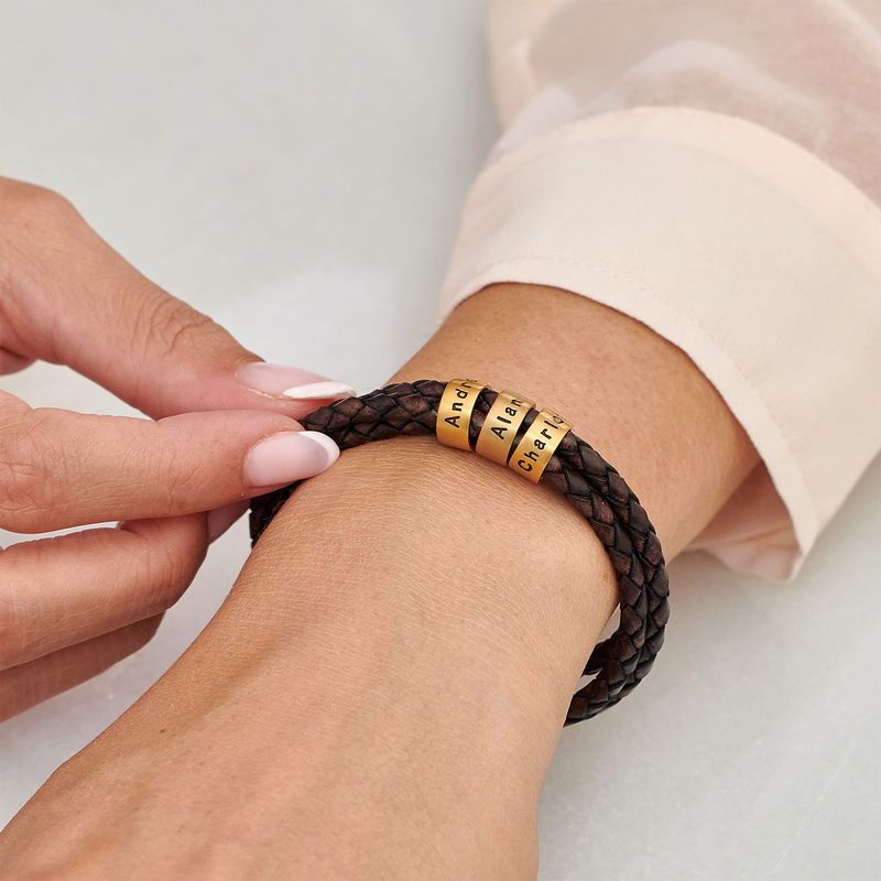 Women Braided Brown Leather Bracelet with Small Custom Beads in 18k Gold Vermeil - 3