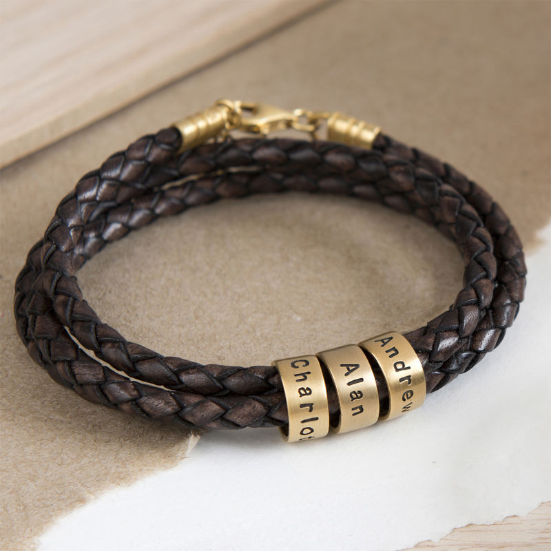 Women Braided Brown Leather Bracelet with Small Custom Beads in 18k Gold Vermeil - 4