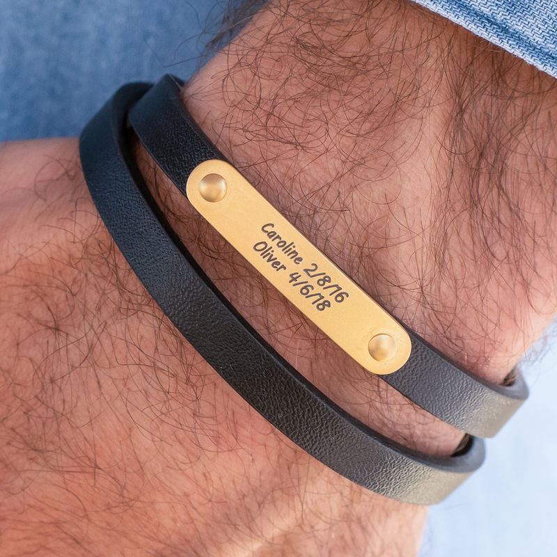Black Leather Bracelet with Engraved Bar in 18K Gold Plating - 2