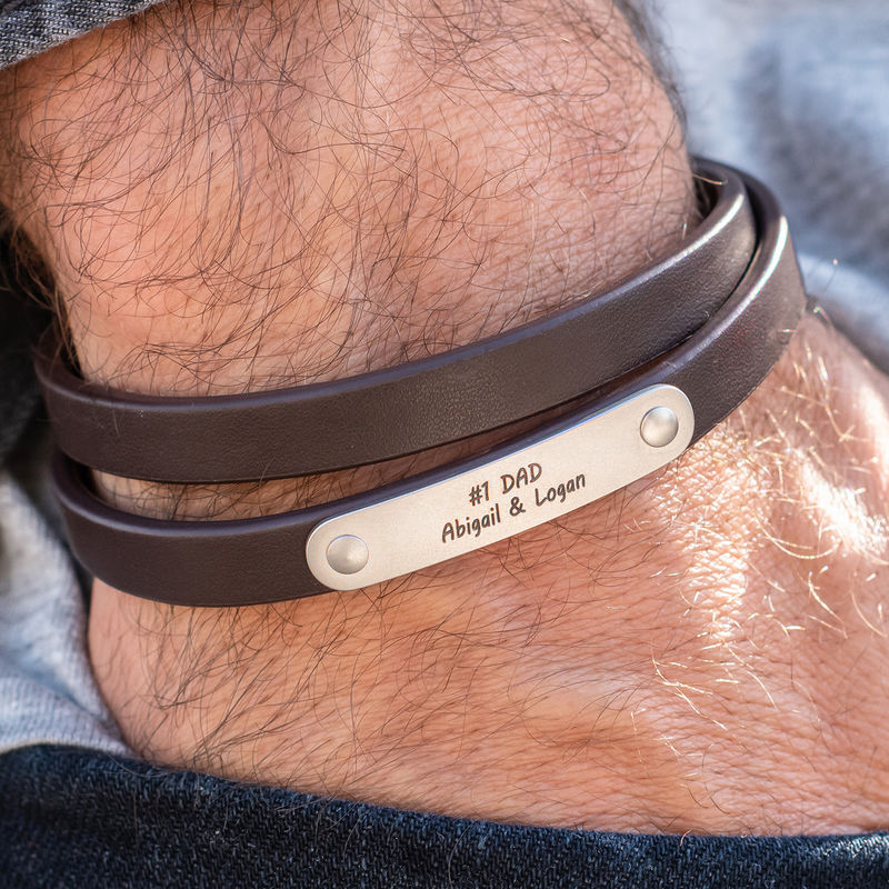 Brown Leather Bracelet with Engraved Bar - 2