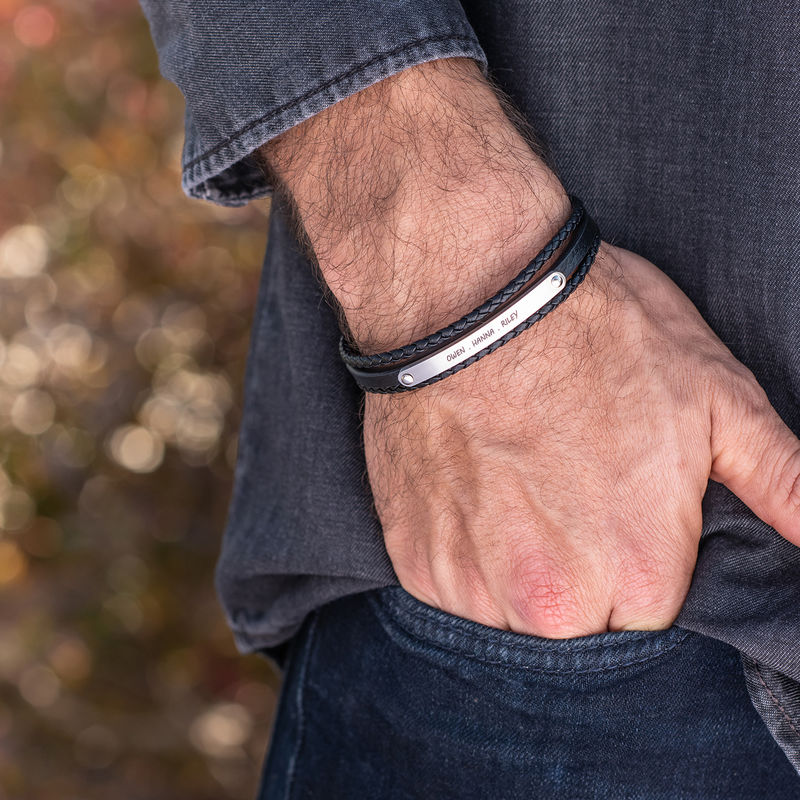 Stacked Black Leather Bracelets with an Engraved Bar - 1