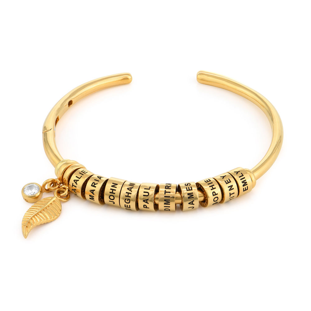 Linda Open Bangle Bracelet with Beads in Gold Plating - 1