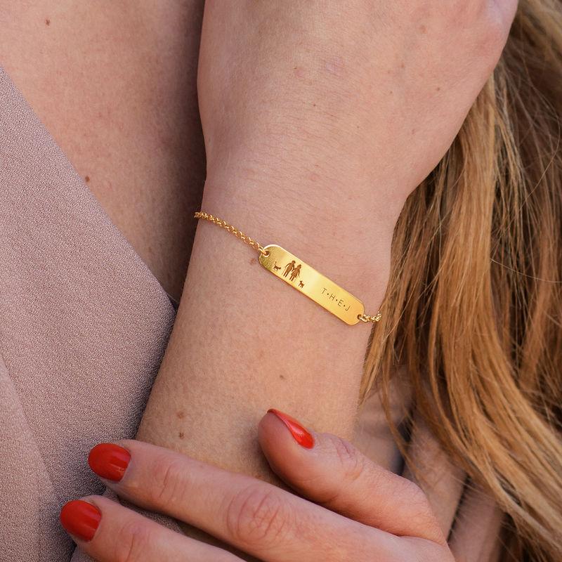 Family Bar Bracelet in 18K Gold Plating - 3
